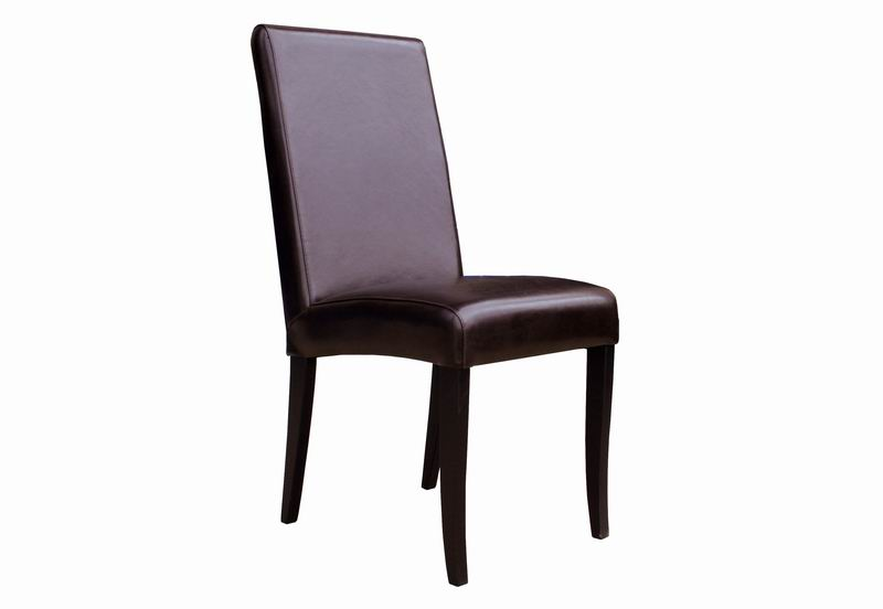 Set of 2 Full Leather Dining Chairs - Espresso