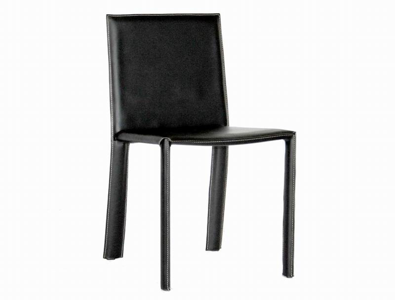 Set of 2 Regal Black Leather Dining Chairs