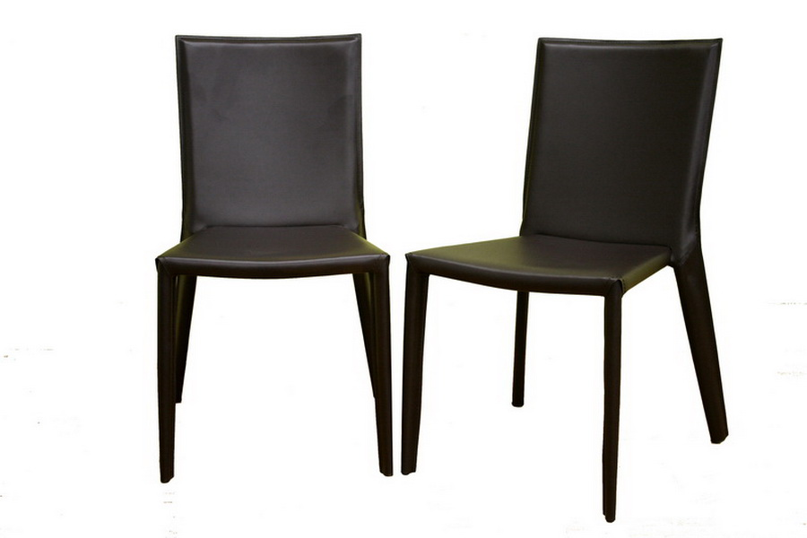 Semele Dark Brown Leather Dining Chair Set of Two