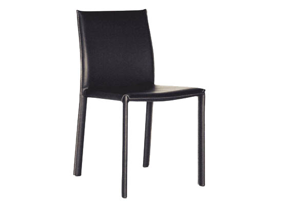 Crawford Black Leather Dining Chair with Black Leather Legs (set of 2)