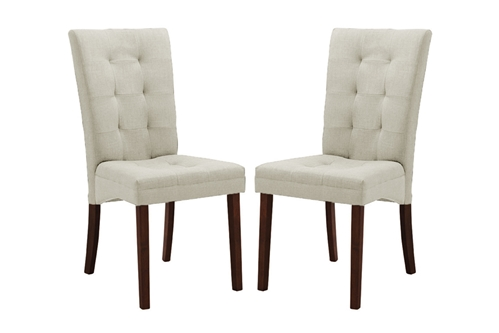 Anne beige fabric modern dining chair set of 2 for Modern dining room chairs
