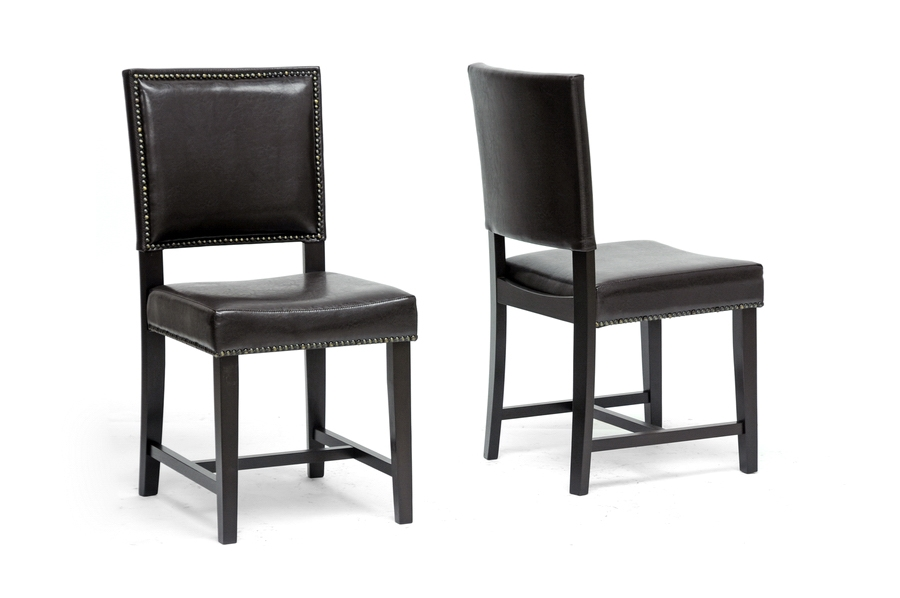 Baxton Studio Nottingham Brown Modern Dining Chair (Set of 2) Baxton Studio Nottingham Brown Modern Dining Chair (Set of 2), BSCH6-Dark Brown-DC (2)