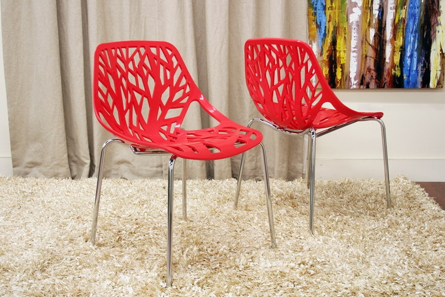 Birch Sapling Red Plastic Modern Dining Chair (Set of 2) - IEDC-451-Red Set of 2