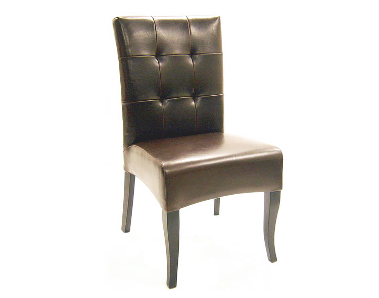 Set of 2 Dark Brown Full Leather Dining Chair
