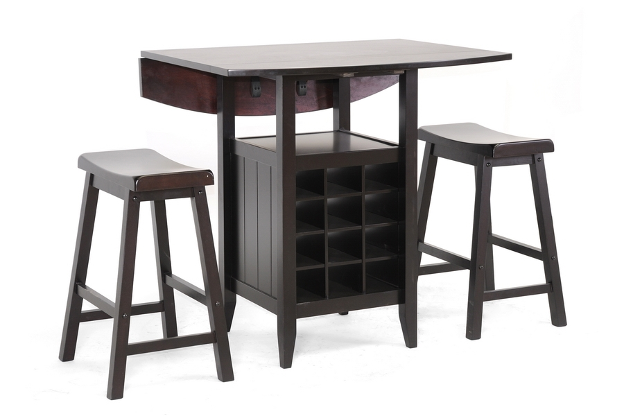 Baxton Studio Reynolds Black Wood 3-Piece Modern Drop-Leaf Pub Set with Wine Rack - IERT227-Pub Stool Set