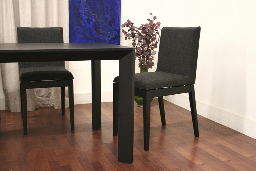 Moira Black 5 Piece Modern Dining Set - IESquare Dining Table-110, Square Dining Chair-110/671 (x4)