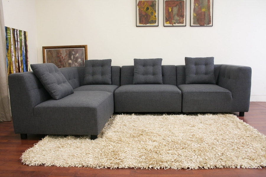 Alcoa Gray Fabric Modular Modern Sectional Sofa - IETD0902 (A227-14A) one arm (3), TD0902 (A227-14A) no arm (2)