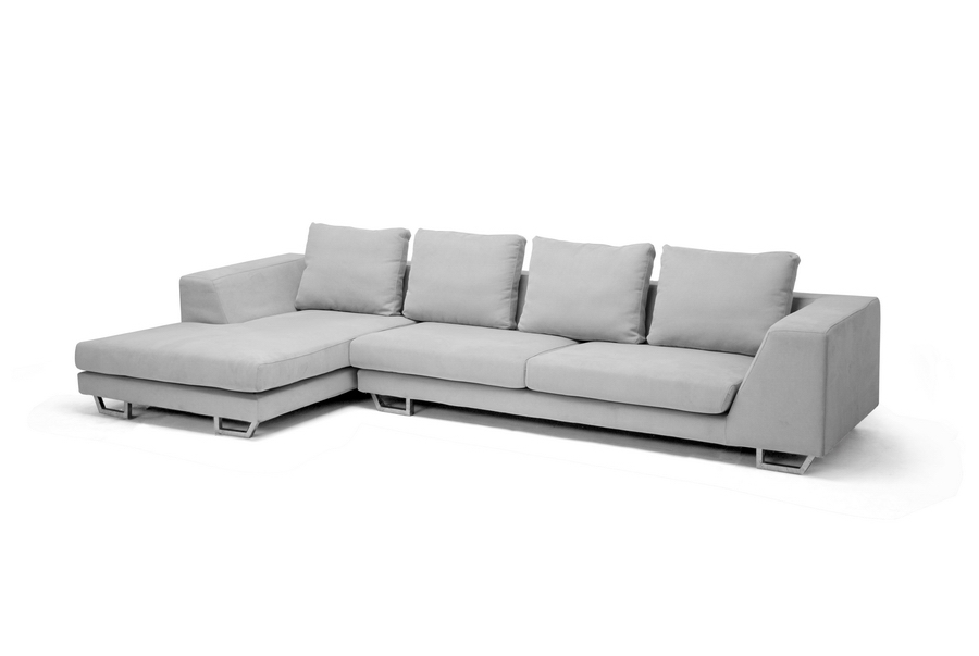 Abby Gray Twill Sectional Sofa