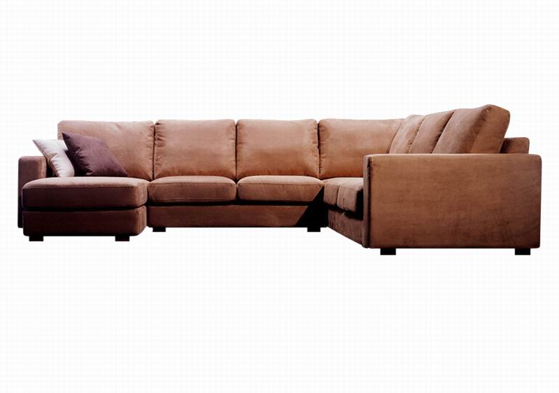 Becca Brown Microfiber Large Sectional Sofa with Chaise