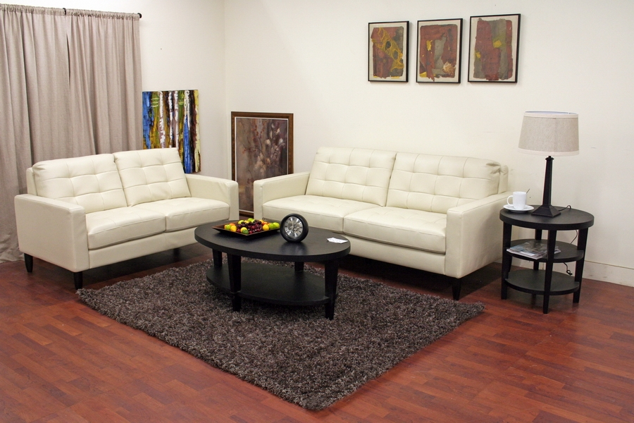 Caledonia Cream Leather Modern Sofa Set - IE1197-2seater-DU017/L016 (1) + 1197-3seater-DU017/L016 (1)