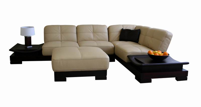 Bonnie Beige Premium Leather Sectional Sofa with Brown Coffee Tables