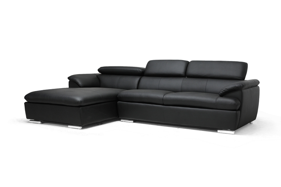 Baxton Studio Ferdinand Black Modern Sectional Sofa with Adjustable Headrests Ferdinand Black Modern Sectional Sofa,IEA-076 Sectional-Black-LFC,compare Ferdinand Black Modern Sectional Sofa,best price on Ferdinand Black Modern Sectional Sofa,discount Ferdinand Black Modern Sectional Sofa,cheap  Ferdinand Black Modern Sectional Sofa