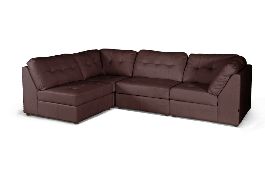Baxton Studio Warren Brown Leather Modern Modular Sectional Sofa Set Baxton Studio Warren Brown Leather Modern Modular Sectional Sofa Set, BSIDS020LT-AC-LTB01-Brown(2) IDS020LT-CO-LTB01-Brown (2)