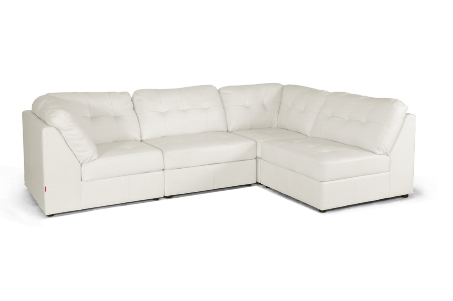 Baxton Studio Warren White Leather Modern Modular Sectional Sofa Set Baxton Studio Warren White Leather Modern Modular Sectional Sofa Set, IEIDS020LT-AC-LTB07-White (2) IDS020LT-CO-LTB07-White (2)