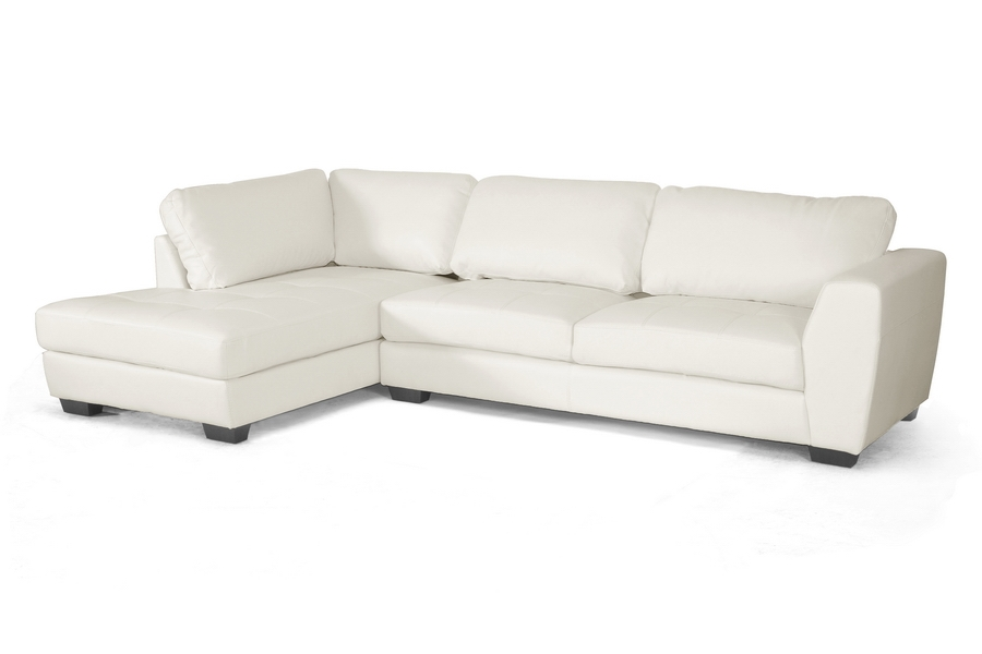 Baxton Studio Orland White Leather Modern Sectional Sofa Set with Left Facing Chaise Baxton Studio Orland White Leather Modern Sectional Sofa Set with Left Facing Chaise, BSIDS023-SEC-LTB07-White LFC