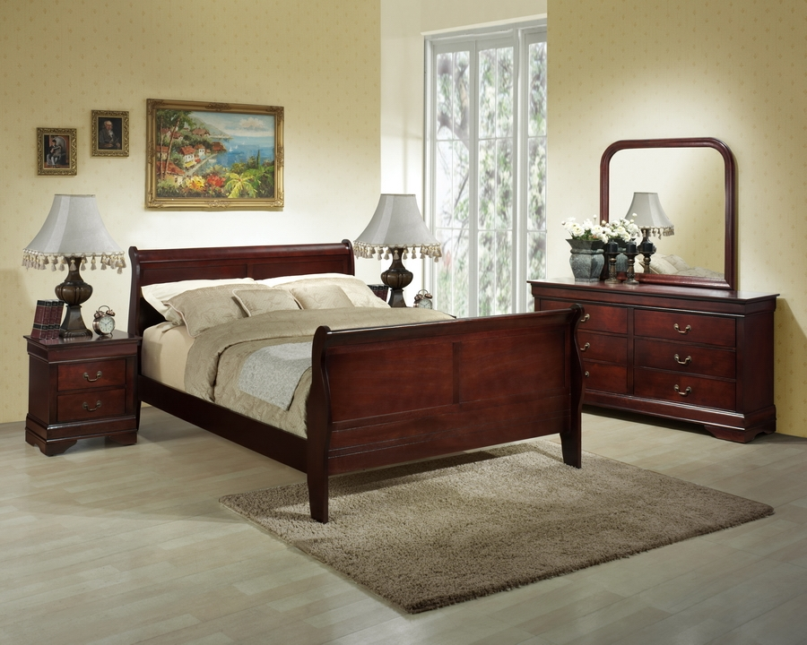 Baxton Studio Hartley Cherry Modern Bedroom Set - King Size Hartley Cherry Modern Bedroom Set - King Size, IEIDB02-King 5-Piece Set, best price on Hartley Cherry Modern Bedroom Set - King Size, discount Hartley Cherry Modern Bedroom Set - King Size, cheap Hartley Cherry Modern Bedroom Set - King Size