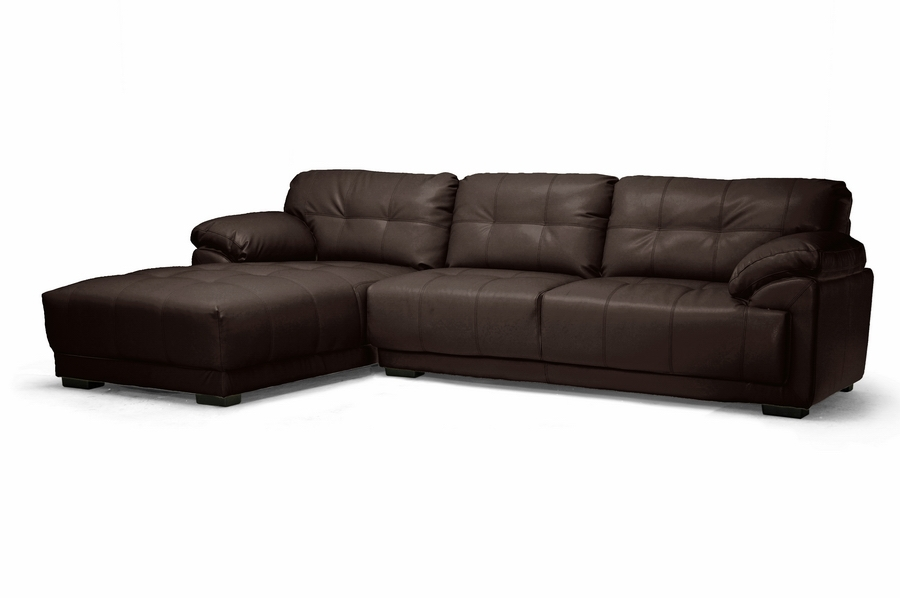 Baxton Studio DeCarlo Dark Brown Leather Modern Sectional Sofa with Left Facing Chaise DeCarlo Dark Brown Leather Modern Sectional Sofa with Left Facing Chaise, IEIDS065LT-Chocolate LFC, best price on DeCarlo Dark Brown Leather Modern Sectional Sofa with Left Facing Chaise, discount DeCarlo Dark Brown Leather Modern Sectional Sofa with Left Facing Chaise, cheap DeCarlo Dark Brown Leather Modern Sectional Sofa with Left Facing Chaise