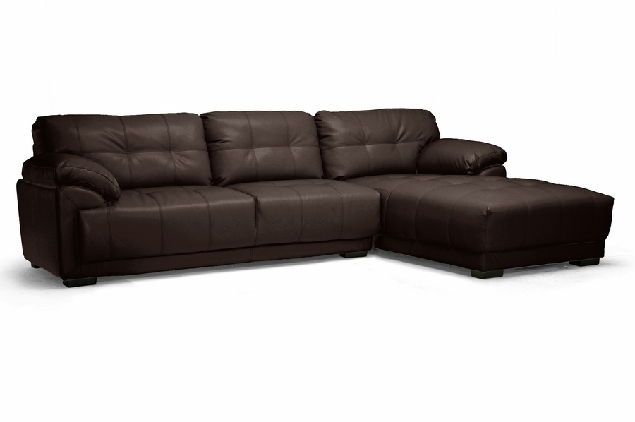 Baxton Studio DeCarlo Dark Brown Leather Modern Sectional Sofa with Right Facing Chaise DeCarlo Dark Brown Leather Modern Sectional Sofa with Right Facing Chaise, IEIDS065LT-Chocolate RFC, best price on DeCarlo Dark Brown Leather Modern Sectional Sofa with Right Facing Chaise, discount DeCarlo Dark Brown Leather Modern Sectional Sofa with Right Facing Chaise, cheap DeCarlo Dark Brown Leather Modern Sectional Sofa with Right Facing Chaise