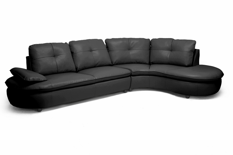 Baxton Studio Hilaria Black Leather Modern Sectional Sofa Hilaria Black Leather Modern Sectional Sofa, IEIDS075LT-SEC-RFC-Black, best price on Hilaria Black Leather Modern Sectional Sofa, discount Hilaria Black Leather Modern Sectional Sofa, cheap Hilaria Black Leather Modern Sectional Sofa