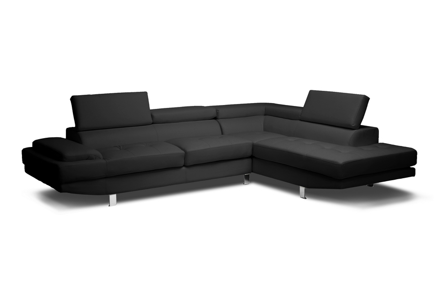 Baxton Studio Selma Black Leather Modern Sectional Sofa Selma Black Leather Modern Sectional Sofa, IEIDS077P-SEC-RFC-Black, best price on Selma Black Leather Modern Sectional Sofa, discount Selma Black Leather Modern Sectional Sofa, cheap Selma Black Leather Modern Sectional Sofa