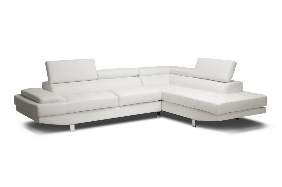 Baxton Studio Selma White Leather Modern Sectional Sofa Selma White Leather Modern Sectional Sofa, IEIDS077P-SEC-RFC-White, best price on Selma White Leather Modern Sectional Sofa, discount Selma White Leather Modern Sectional Sofa, cheap Selma White Leather Modern Sectional Sofa