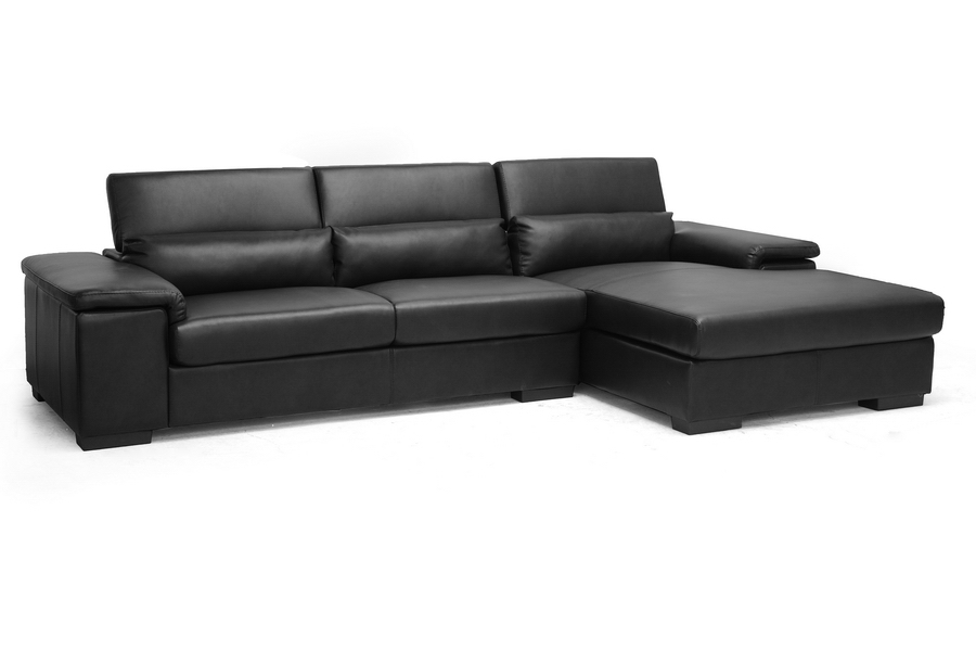 Baxton Studio Dolan Black Leather Modern Sectional Sofa with Right Facing Chaise Dolan Black Leather Modern Sectional Sofa with Right Facing Chaise, IEIDS083LT-Black RFC, best price on Dolan Black Leather Modern Sectional Sofa with Right Facing Chaise, discount Dolan Black Leather Modern Sectional Sofa with Right Facing Chaise, cheap Dolan Black Leather Modern Sectional Sofa with Right Facing Chaise