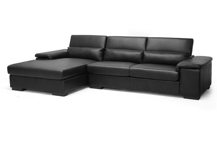 Baxton Studio Dolan Black Leather Modern Sectional Sofa with Left Facing Chaise Dolan Black Leather Modern Sectional Sofa with Left Facing Chaise, IEIDS083LT-Black LFC, best price on Dolan Black Leather Modern Sectional Sofa with Left Facing Chaise, discount Dolan Black Leather Modern Sectional Sofa with Left Facing Chaise, cheap Dolan Black Leather Modern Sectional Sofa with Left Facing Chaise