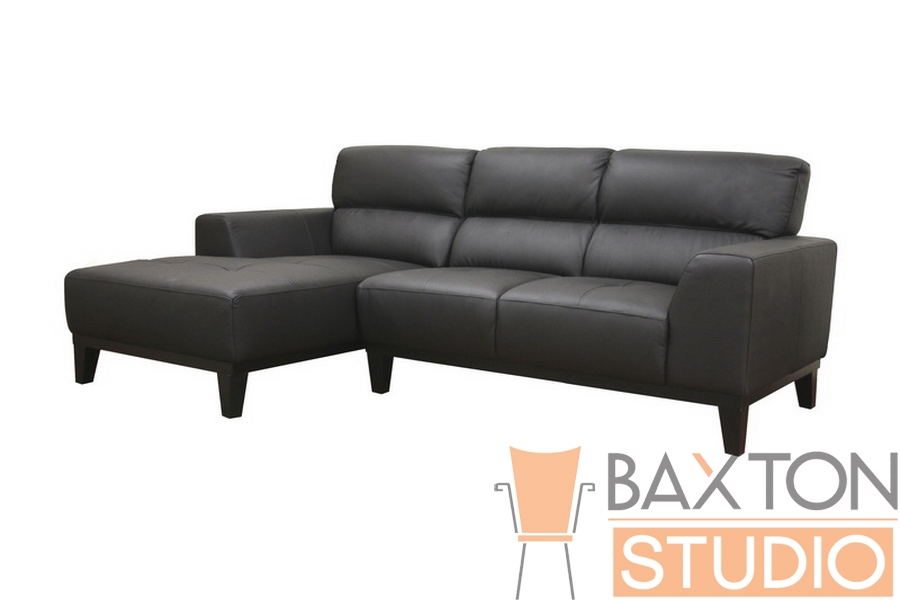 Jocelyn Black Leather Sofa Sectional