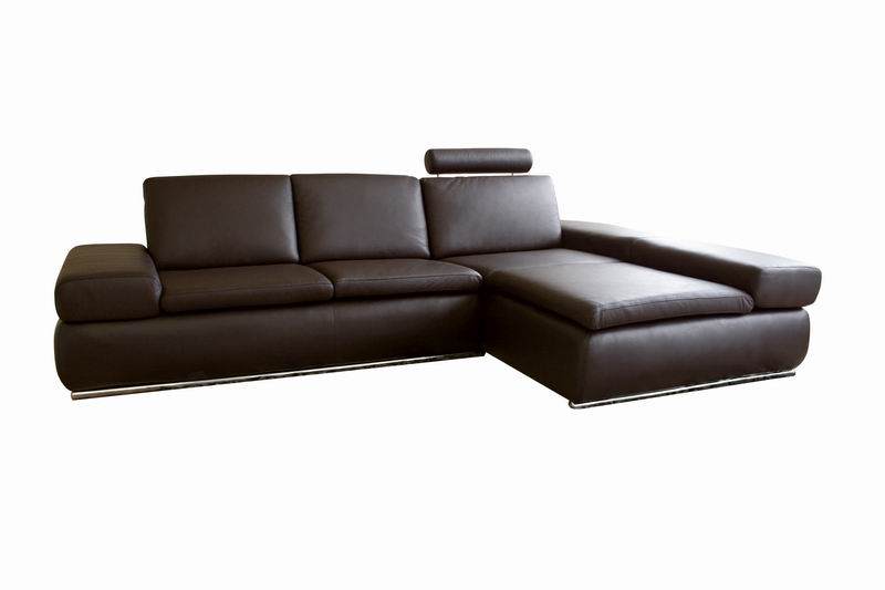 Champagne Brown Leather Sectional Sofa w/ Adjustable Arm and Head Rest