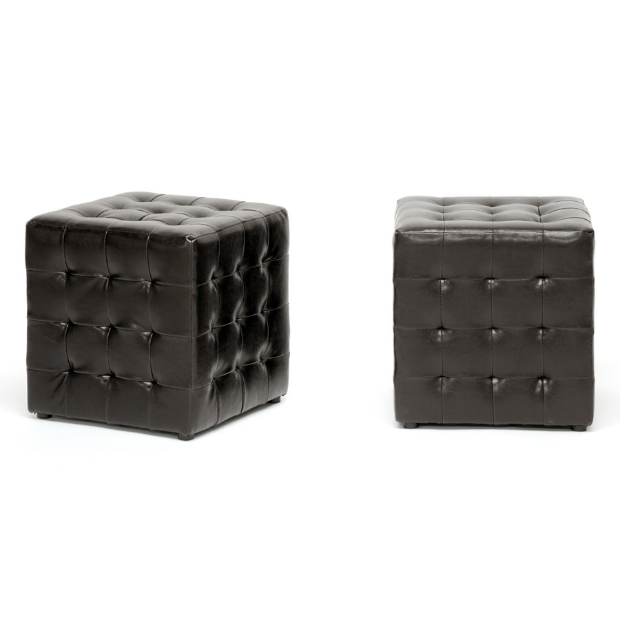 Baxton Studio Siskal Dark Brown Modern Cube Ottoman (Set of 2) - IEBH-5589-DARK BROWN-OTTO (2)