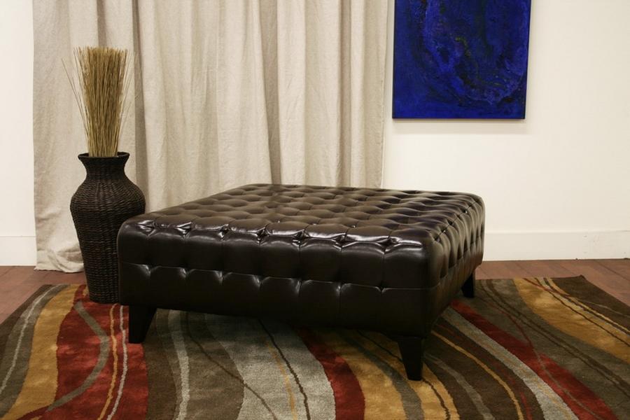 Pemberly Dark Brown Bonded Leather Square Ottoman - IETA1235-Dark Brown