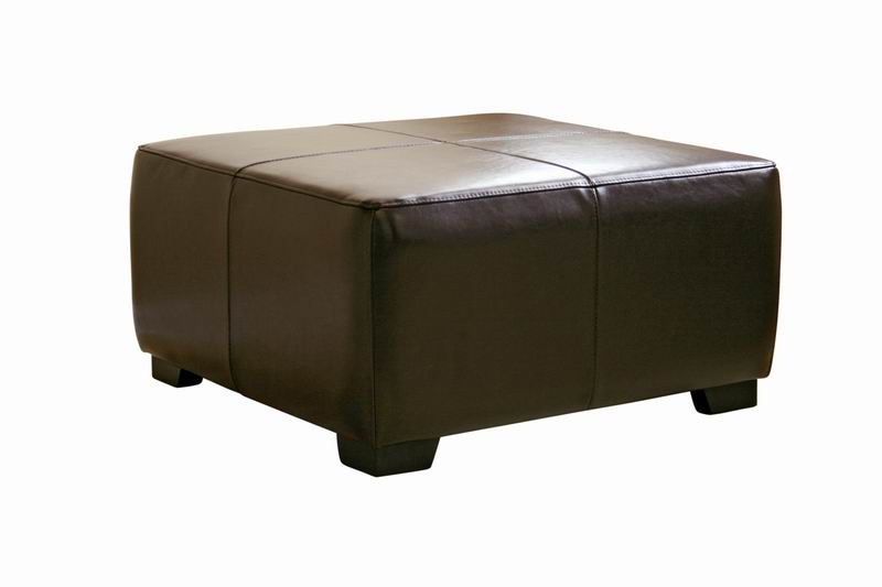 Belmont Full Leather Ottoman in Dark Brown