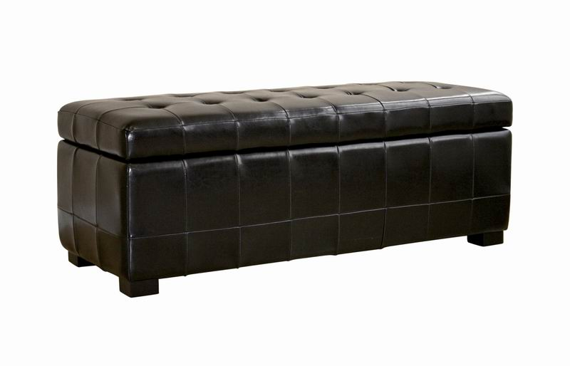 Walter Tufted Leather Storage Ottoman in Black