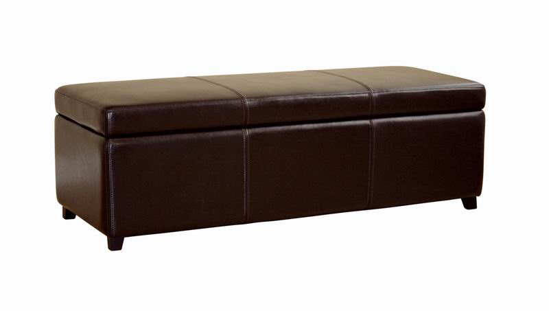 Monroe Full Leather Storage Ottoman