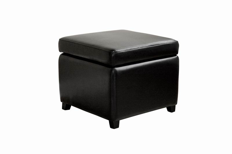 Linden Black Leather Small Storage Cube Ottoman with Safety Hinge