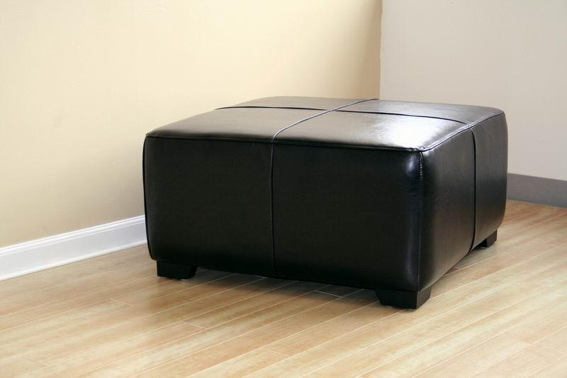Belmont Full Leather Ottoman in Black