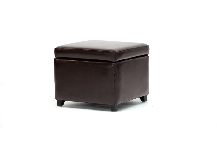 Linden Brown Leather Small Storage Cube Ottoman with Safety Hinge