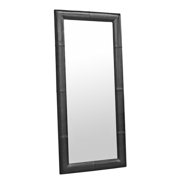 Floor Mirror with Black Leather Frame - IEA-61-1-023