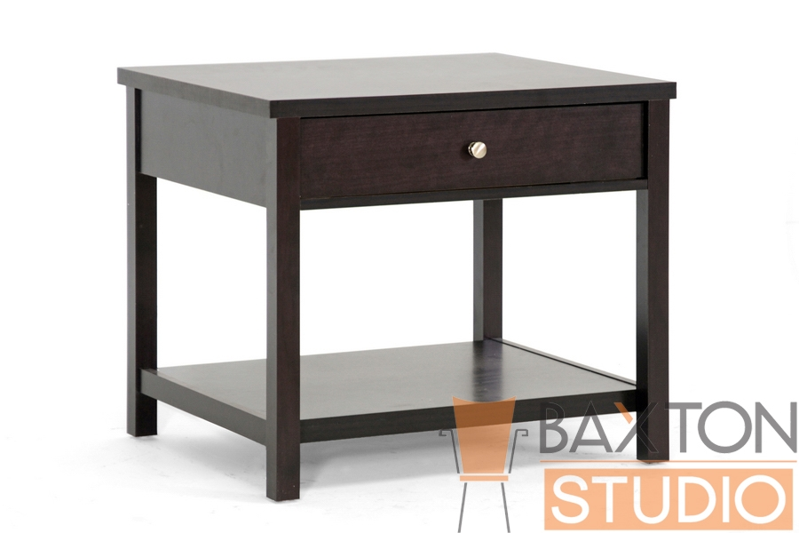 Baxton Studio Isabella Bed Side Table in Dark Brown Isabella Bed Side Table in Dark Brown, IEST-002-Night stand,  compare Isabella Bed Side Table in Dark Brown, best price on Calyx White Modern Bed with Curved Headboard-King SizeIsabella Bed Side Table in Dark Brown, discount Isabella Bed Side Table in Dark Brown, cheap Isabella Bed Side Table in Dark Brown,