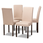 Baxton Studio Andrew Contemporary Espresso Wood Beige Fabric Dining Chair (Set of 4) Baxton Studio restaurant furniture, hotel furniture, commercial furniture, wholesale dining room furniture, wholesale chairs, classic dining chairs