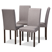 Baxton Studio Andrew Contemporary Espresso Wood Grey Fabric Dining Chair (Set of 4) Baxton Studio restaurant furniture, hotel furniture, commercial furniture, wholesale dining room furniture, wholesale chairs, classic dining chairs