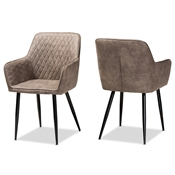 Baxton Studio Belen Modern and Contemporary Grey and Brown Imitation Leather Upholstered 2-Piece Metal Dining Chair Set Baxton Studio restaurant furniture, hotel furniture, commercial furniture, wholesale dining room furniture, wholesale dining chairs, classic dining chairs