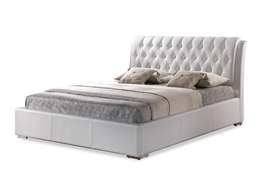 Baxton Studio Bianca White Modern Bed with Tufted Headboard - Full Size Bianca White Modern Bed with Tufted Headboard - Full Size, IEBBT6203-White-Bed-Full, best price on Bianca White Modern Bed with Tufted Headboard - Full Size, discount Bianca White Modern Bed with Tufted Headboard - Full Size, cheap Bianca White Modern Bed with Tufted Headboard - Full Size