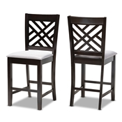 Baxton Studio Caron Modern and Contemporary Gray Fabric Upholstered Espresso Brown Finished Wood Counter Height Pub Chair Set of 2 Baxton Studio restaurant furniture, hotel furniture, commercial furniture, wholesale dining  room furniture, wholesale counter stools, classic counter stools
