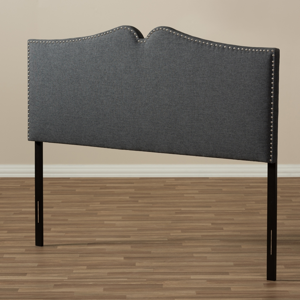 baxton studio gracie modern and contemporary dark grey fabric upholstered king size headboard. Black Bedroom Furniture Sets. Home Design Ideas
