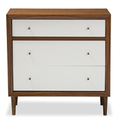 Baxton Studio Harlow Mid-century Modern Scandinavian Style White and Walnut Wood 3-drawer Chest Baxton Studio restaurant furniture, hotel furniture, commercial furniture, wholesale bedroom furniture, wholesale dressers, classic 3-drawer Chest, cheap dressers