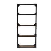Baxton Studio Hudson Rustic Industrial Style Antique Black Textured Finished Metal Distressed Wood Tall Shelving Unit Baxton Studio restaurant furniture, hotel furniture, commercial furniture, wholesale living room furniture, classic display shelves