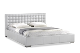 Baxton Studio Madison White Modern Bed with Upholstered Headboard - Queen Size Madison White Modern Bed with Upholstered Headboard - Queen Size, IEBBT6183-White-Bed, compare Madison White Modern Bed with Upholstered Headboard - Queen Size, best price on Madison White Modern Bed with Upholstered Headboard - Queen Size, discount Madison White Modern Bed with Upholstered Headboard - Queen Size, cheap Madison White Modern Bed with Upholstered Headboard - Queen Size