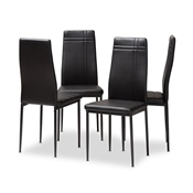 Baxton Studio Matiese Modern and Contemporary Black Faux Leather Upholstered Dining Chair (Set of 4) Baxton Studio restaurant furniture, hotel furniture, commercial furniture, wholesale dining furniture, wholesale chair, classic dining chairs