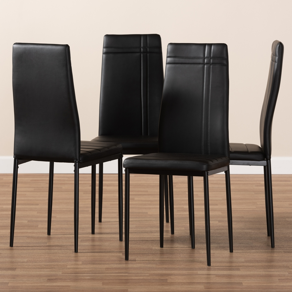 Baxton Studio Matiese Modern And Contemporary Black Faux Leather Upholstered Dining Chair Set Of 4